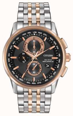 Citizen Mens Eco-Drive cronógrafo mundo de acero y oro rosa AT8116-57E