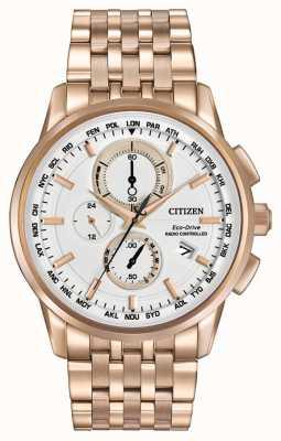 Citizen Menseco crono mundo duro en rosa dorado AT8113-55A