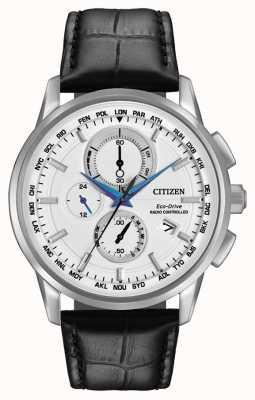 Citizen Eco-drive crono mundial en cuero controlado por radio AT8110-02A