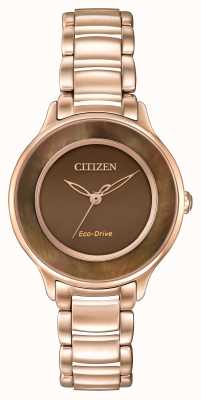 Citizen Eco-drive subió círculo de oro de tiempo marrón EM0382-86X