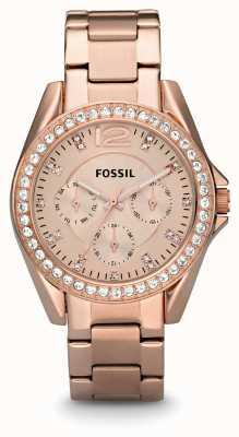 Fossil Señoras riley pvd oro rosa chapado ES2811