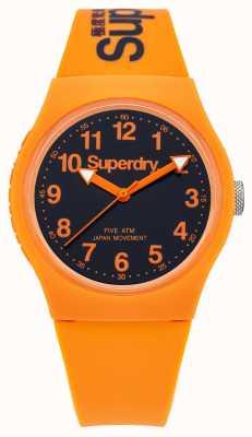 Superdry Gents Correas esfera de color negro de goma naranja urbana SYG164O