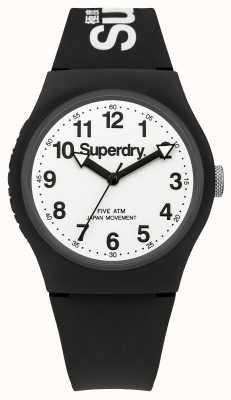Superdry Para hombre esfera blanca correa de negro urbano SYG164BW