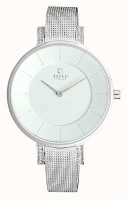 Obaku Damas de acero inoxidable reloj de plata de malla V158LECIMC