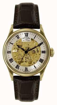 Rotary Correa de cuero marrón esqueleto Mécanique GS02941/03