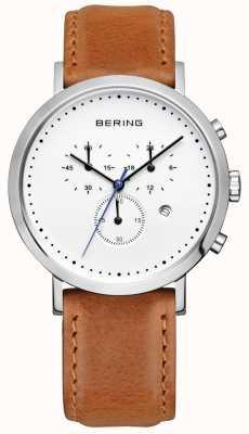 Bering Mens correa de piel marrón crono de línea blanca 10540-504
