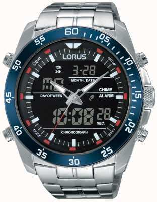 Lorus Para hombre de acero inoxidable de doble tiempo RW623AX9
