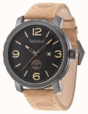 Timberland Para hombre de Pinkerton esfera de color negro correa de piel marrón 14399XSU/02