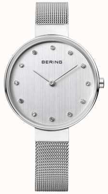 Bering Womens esfera plateada de malla de acero inoxidable 12034-000