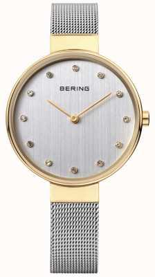 Bering Womens esfera plateada de malla de acero inoxidable 12034-010