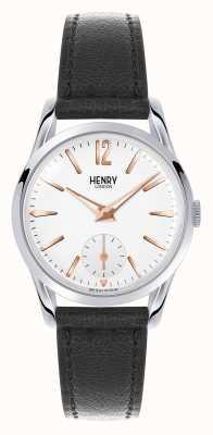 Henry London Esfera blanca correa de cuero negro de Highgate HL30-US-0001
