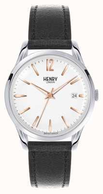 Henry London Esfera blanca correa de cuero negro de Highgate HL39-S-0005