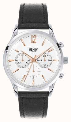 Henry London Highgate cronógrafo de la correa de cuero negro HL41-CS-0011