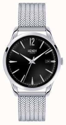 Henry London Esfera de color negro de malla de acero inoxidable de Edgware HL39-M-0015