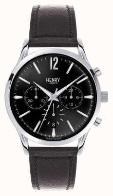 Henry London Edgware correa de cuero negro del cronógrafo HL41-CS-0023