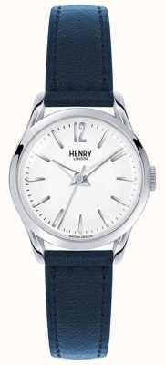 Henry London Knightsbridge correa de cuero azul esfera blanca HL25-S-0027