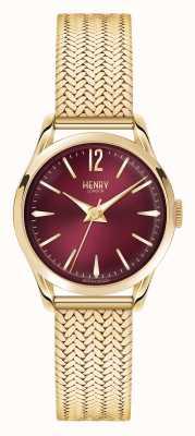 Henry London Oro Holborn plateado de malla de línea de color rojo oscuro HL25-M-0058