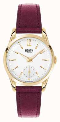 Henry London esfera blanca correa de cuero de color rojo oscuro Holborn HL30-US-0060