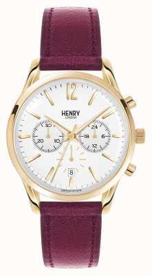 Henry London Holborn crono correa de cuero de color rojo oscuro HL39-CS-0070