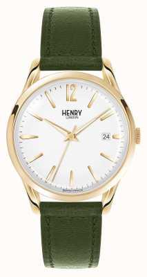 Henry London esfera blanca correa de cuero verde de Chiswick HL39-S-0098