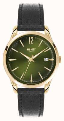 Henry London Chiswick correa de cuero negro esfera verde HL39-S-0100