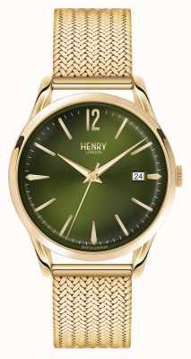 Henry London Chiswick chapado en oro de línea verde de malla HL39-M-0102