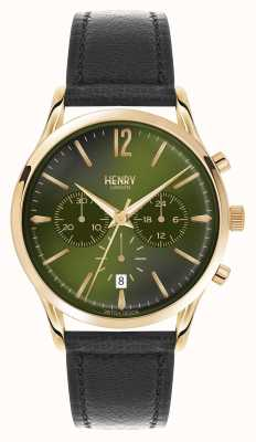Henry London Chiswick correa de cuero negro cronógrafo HL41-CS-0106