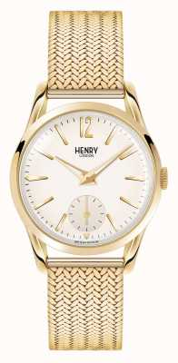 Henry London Westminster chapado en oro de malla de línea champán HL30-UM-0004
