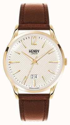 Henry London Westminster marrón correa de cuero champán HL41-JS-0016