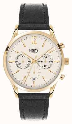 Henry London Westminster correa de cuero negro del cronógrafo HL41-CS-0018