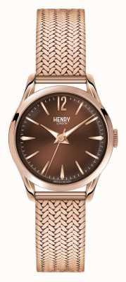 Henry London Harrow rosa de oro bañado de malla de línea de chocolate HL25-M-0044