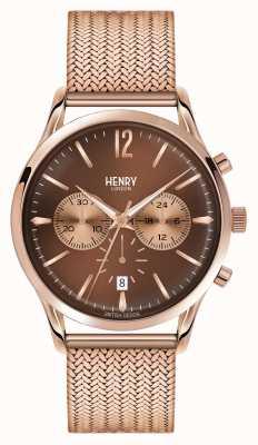 Henry London Harrow rosa de oro bañado cronógrafo de malla HL41-CM-0056