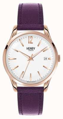 Henry London Hampstead correa de cuero morado esfera blanca HL39-S-0082