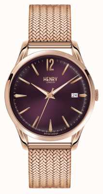 Henry London Hampstead oro rosa plateado de malla de línea púrpura HL39-M-0078