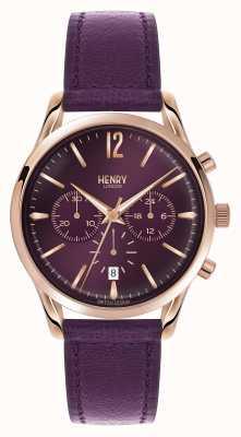 Henry London Hampstead correa de cuero púrpura cronógrafo HL39-CS-0092