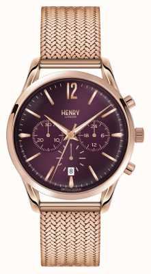 Henry London Hampstead rosa de oro bañado cronógrafo de malla HL39-CM-0088