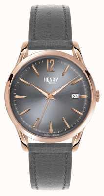Henry London Esfera gris correa de cuero gris Finchley HL39-S-0120