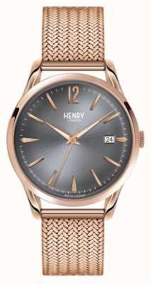 Henry London Finchley rosa de oro con malla esfera gris HL39-M-0118