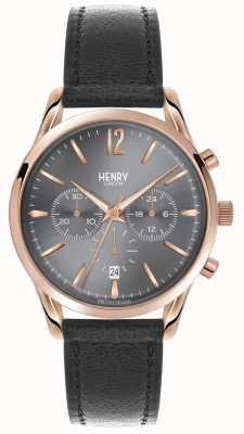 Henry London Finchley correa de cuero gris cronógrafo HL39-CS-0122