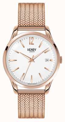 Henry London Richmond rosa oro plateado malla blanca dial HL39-M-0026