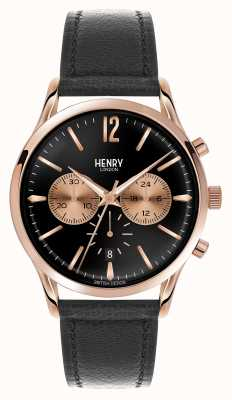 Henry London Richmond correa de cuero negro del cronógrafo HL41-CS-0042