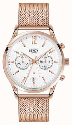 Henry London Richmond chapado en oro rosa de malla cronógrafo HL41-CM-0040