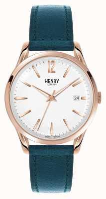 Henry London Esfera blanca correa de cuero azul Stratford HL39-S-0132
