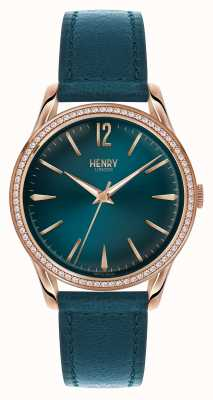 Henry London Esfera azul correa de cuero azul Stratford HL39-SS-0140