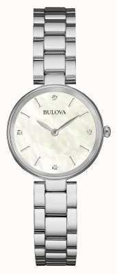 Bulova Womens esfera blanca pulsera de acero inoxidable 96S159