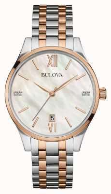 Bulova Womens blanco madre de dos tonos de la línea de perlas 98S150