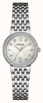 Bulova Womens establecer esfera blanca de diamantes de acero inoxidable 96W203