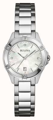 Bulova Womens diamante de acero inoxidable fijado dia plata 96W205