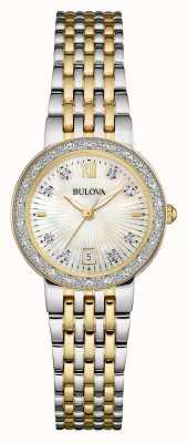Bulova Womens establecer esfera blanca dos diamantes tono 98W211
