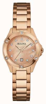 Bulova Mujeres rosa de oro bañado de oro rosa de línea 97W101